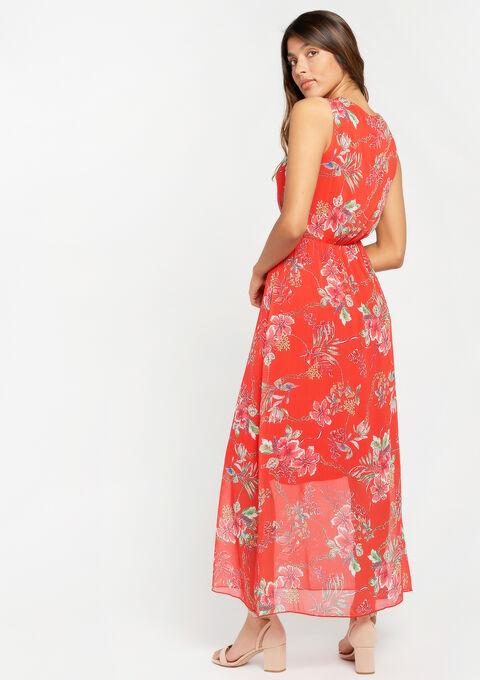Lange jurk, bloemenprint, cache coeur - CORAL GERBERIA - 08600120_5405