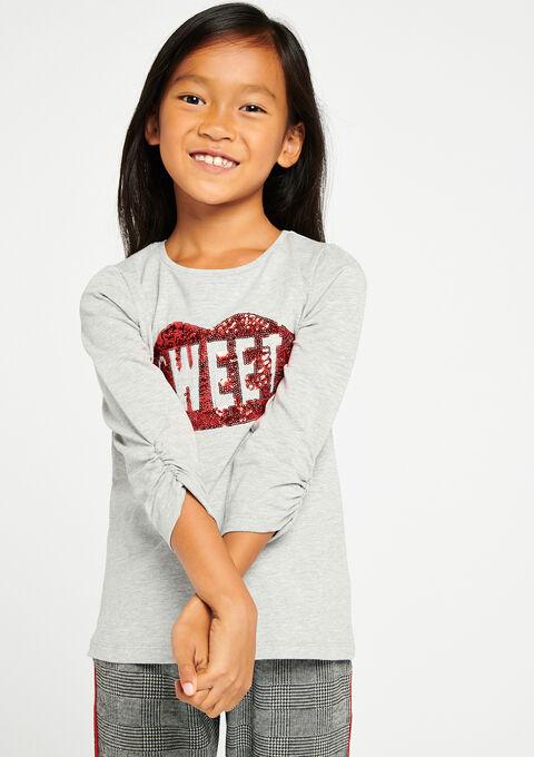 T-shirt met lovertjes - LT GREY MELANGE - 02005640_1093