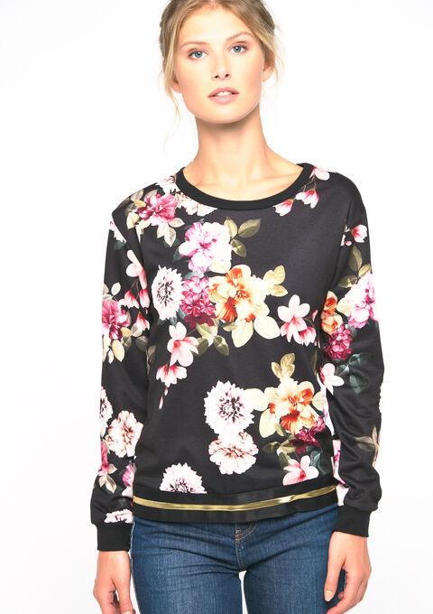 Sweat imprimé fleurs - BLACK - 03001414_1119