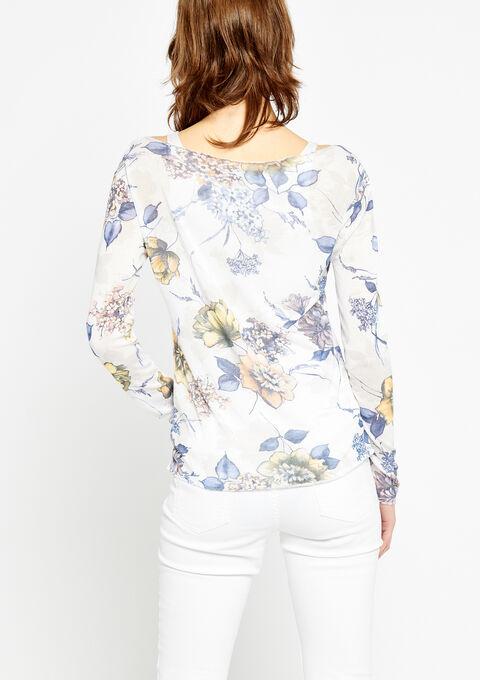T-shirt met boothals, bloemenprint - WHITE ALYSSUM - 937906