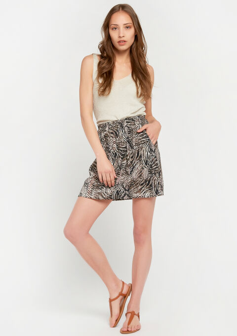 Mini-rok met dierenprint - BROWNIE TAUPE - 07100228_1045