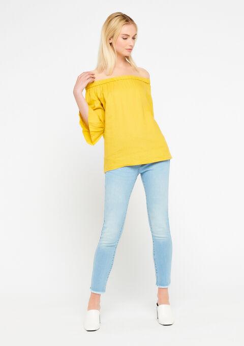 Linnen blouse met open schouders - LEMON CURRY - 05700194_1237