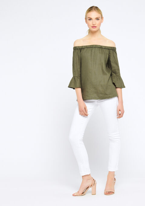 Linnen blouse met open schouders - KHAKI DARKY - 05700194_4208