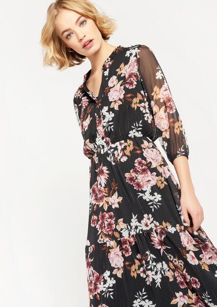 Maxi jurk met bloemen en V-hals - BLACK BEAUTY - 08601254_2600