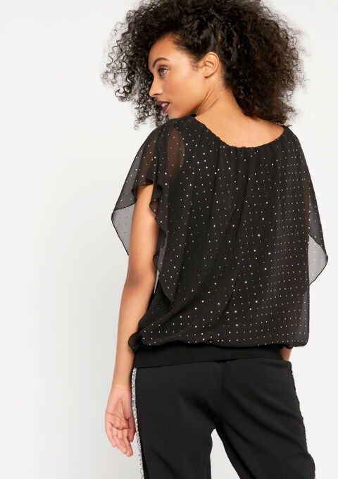 Blouse met glanzende print - BLACK - 05700205_1119