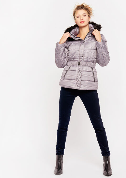 Padded jacket with print - BEIGE PEPPER - 23000146_4002