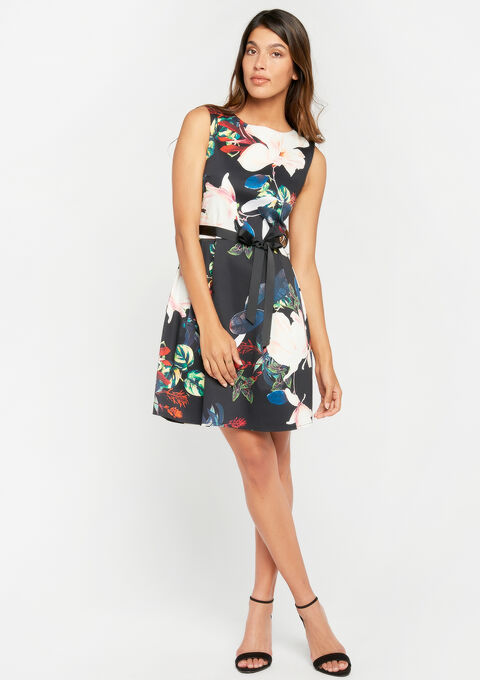 A-lijn jurk met bloemenprint - BLACK - 08100600_1119
