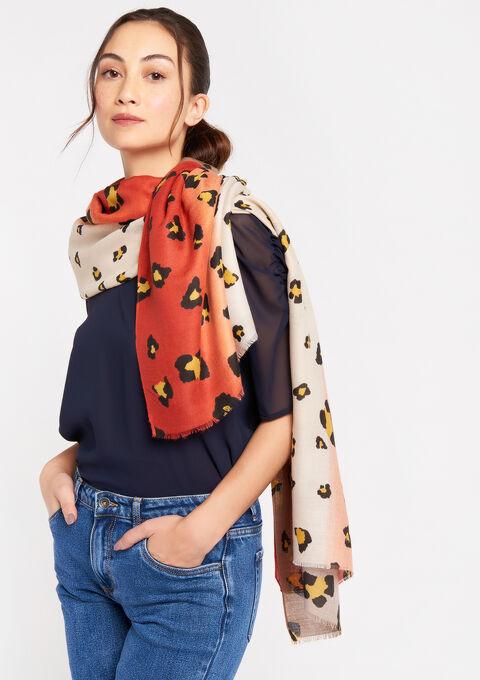 Zachte sjaal met luipaardprint - BEIGE SAND - 983655