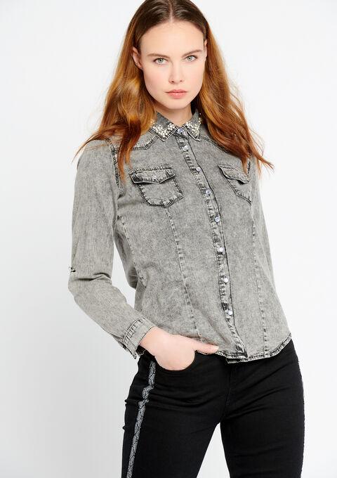 Jeanshemd met versierde kraag - MEDIUM GREY MEL - 05700262_1068