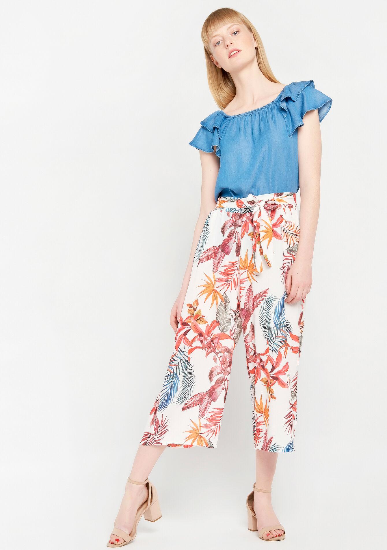 Wijde broek met bloemenprint - ORANGE SUNSET - 06600109_5200