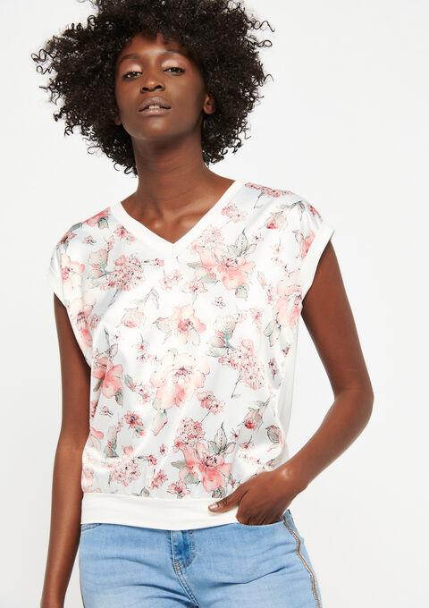 T-shirt met bloemenprint - WHITE ALYSSUM - 02300244_2502