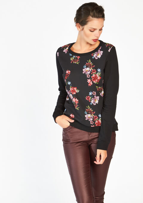 Sweat met bloemenprint - BLACK - 03000980_1119