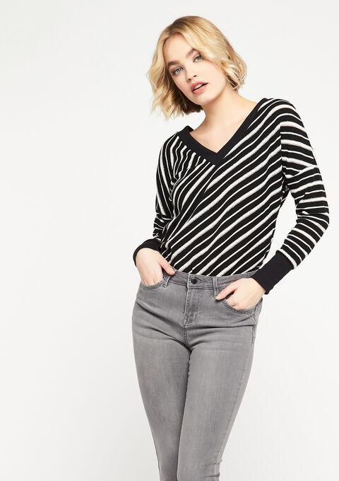 Striped sweatshirt with lurex - BLACK - 03001473_1119