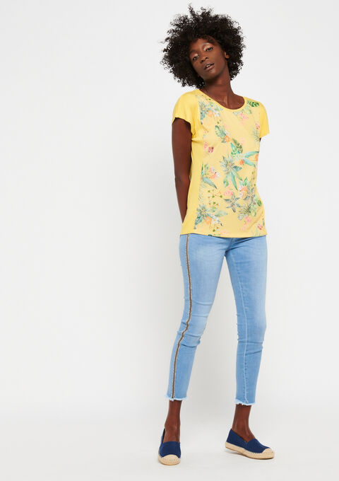 T-shirt met bloemenprint - LEMON CURRY - 02300261_1237