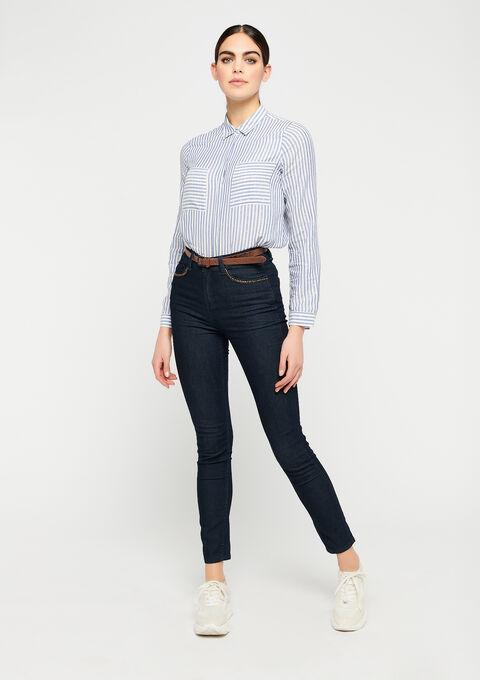Slim jeans met hoge taille - DARK BLUE - 22000170_501