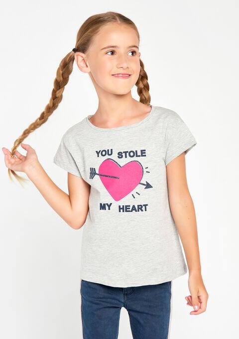 T-shirt met korte mouwen & print - LT GREY MELANGE - 02005590_1093