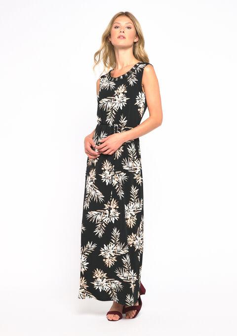 Maxi jurk met versierde hals - BLACK - 08101569_1119