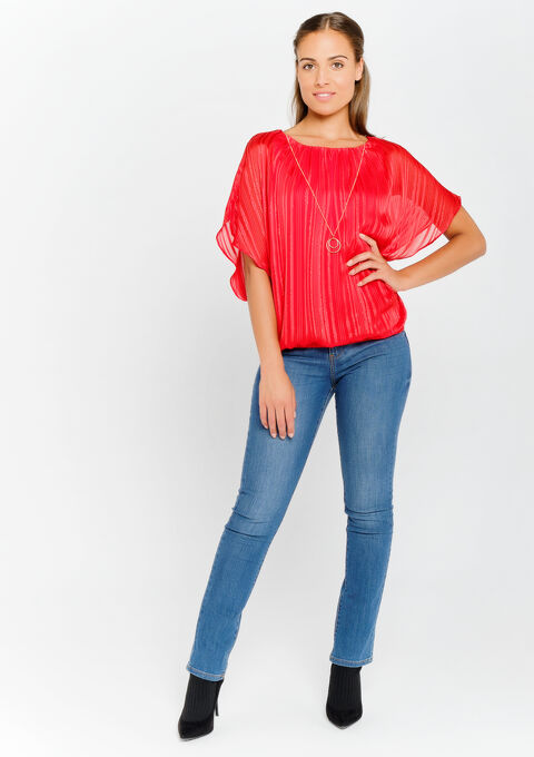 Blouse met halsketting - REAL RED - 05700407_1393