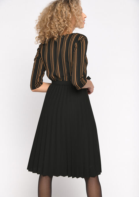Gestreepte A-lijn jurk - CARAMEL - 08101622_1953