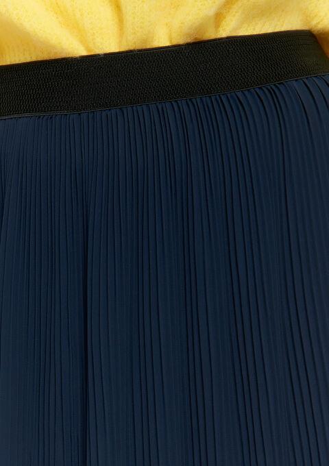 Plissé, lange rok - NAVY BLUE - 07100229_1651
