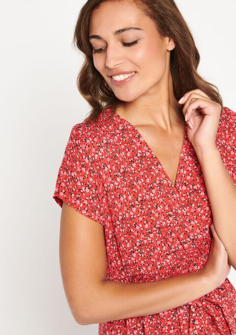 Lange jurk met bloemenprint - FLAME RED - 08600605_1389