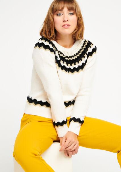 Sweater jacquard - WINTER WHITE - 04004546_1902