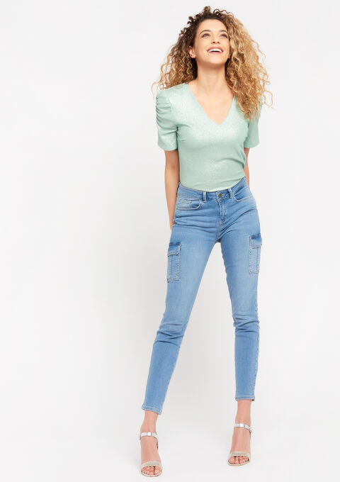 Skinny cargo jeans - BLUE BLEACHED - 22000189_502