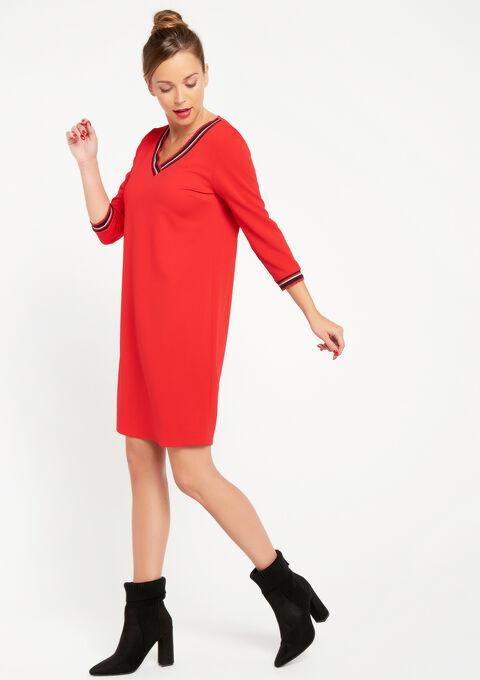 Rechte jurk met v-hals - FLAME RED - 08100557_1389