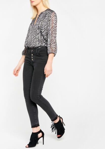 Skinny jeans with button fly - BLACK - 22000080_1119