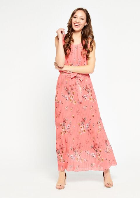 Maxi-jurk met plissé rok - CORAL GERBERIA - 08600131_5405