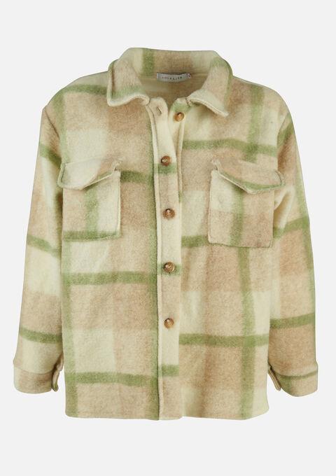 Korte duffelcoat met kraag en knopen - LIGHT GREEN - 23000267_1822
