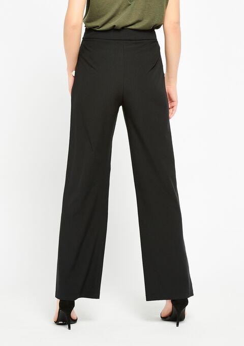 Wijde broek met hoge taille, knopen - BLACK - 06100192_1119