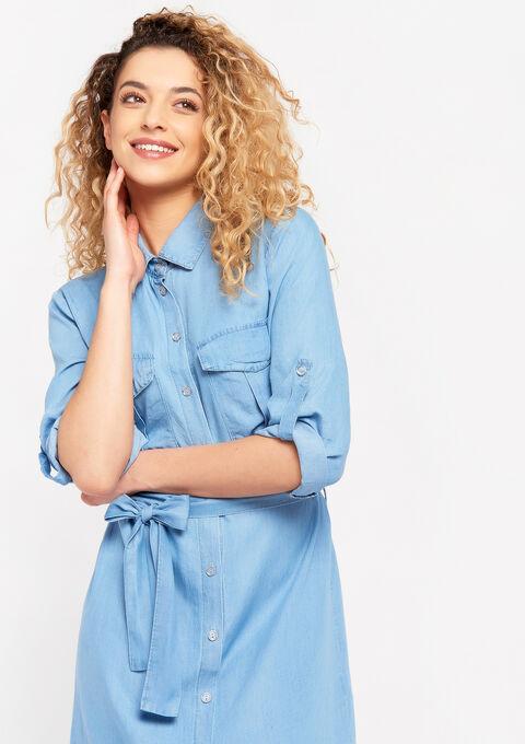 Hemd jurk in tencel - MEDIUM BLUE - 08102163_500