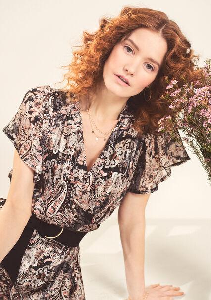 Maxi jurk met lurex lijntjes en print - BLACK BEAUTY - 08601291_2600