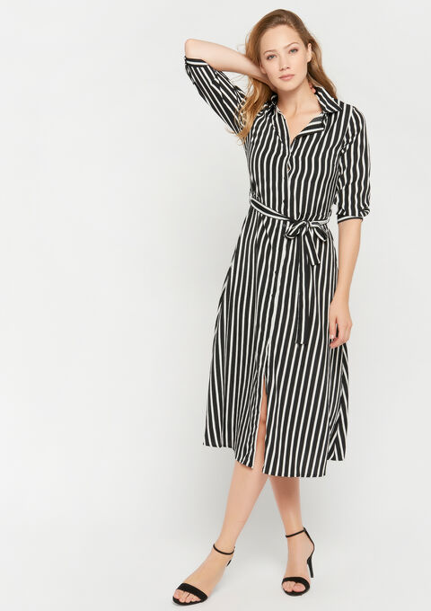Robe chemise à rayures - BLACK - 08600984_1119