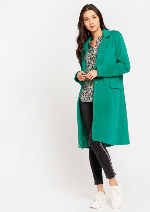 Long coat with buttons and pockets - GREEN TAHITI - 23000251_4616