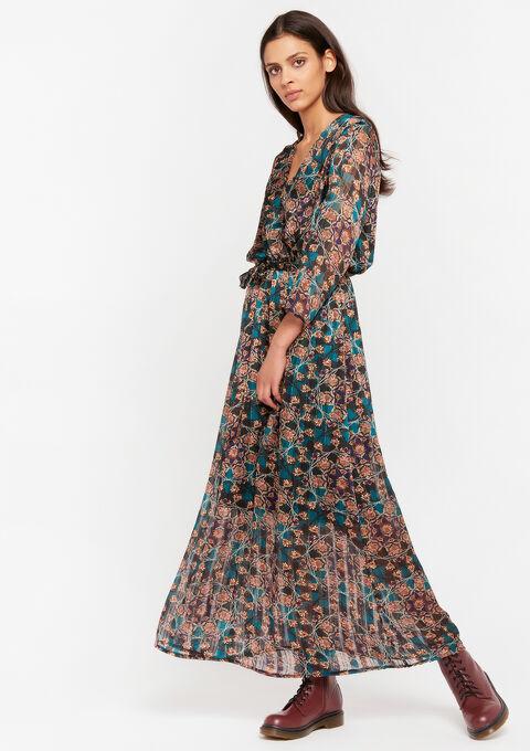 Cache-coeur jurk met bloemenprint - BLUE CANARD - 08601050_3204