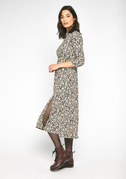 Dress with flower print - BLACK - 08101686_1119