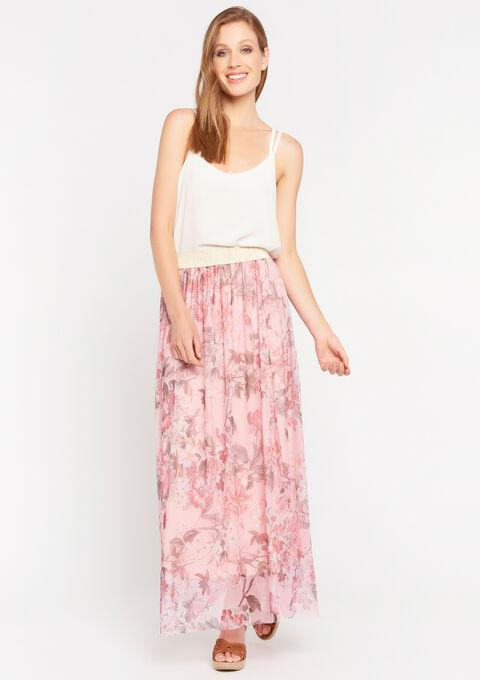 Rok met plisse en bloemenprint - SHELLY PINK - 07100686_4105