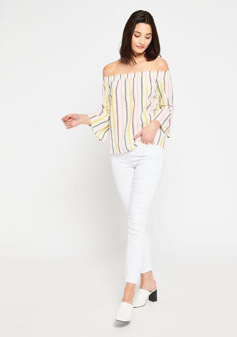 Gestreepte carmen-blouse - ANEMONE PINK - 05700243_5611