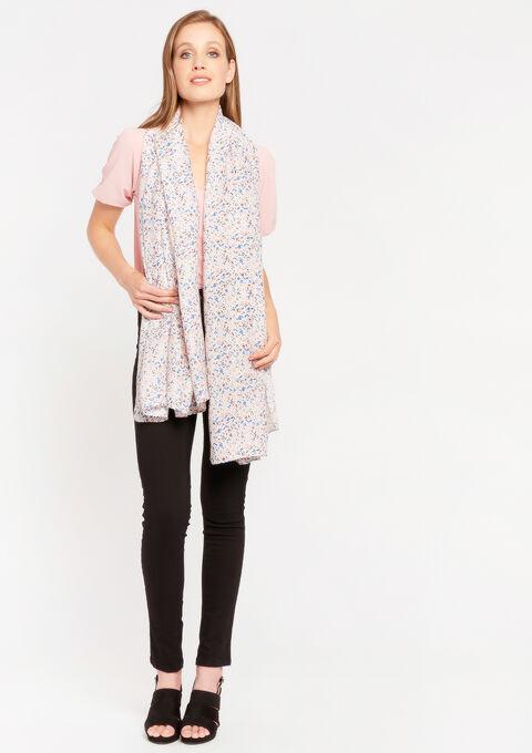 Sjaal met fijne bloemenprint - CORAL FLOWER - 996303