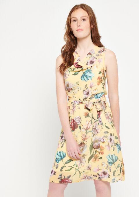 Robe courte à fleurs, col bénitier - YELLOW SUMMER - 08100787_1185