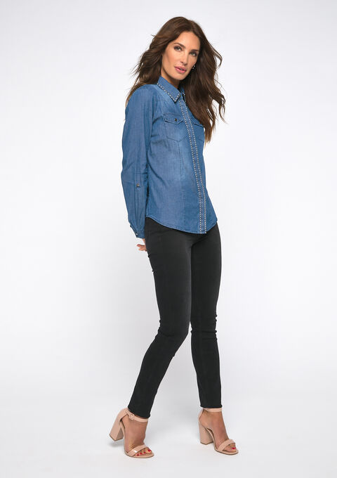 Denim hemd met studs - MEDIUM BLUE SKY - 05700608_1583