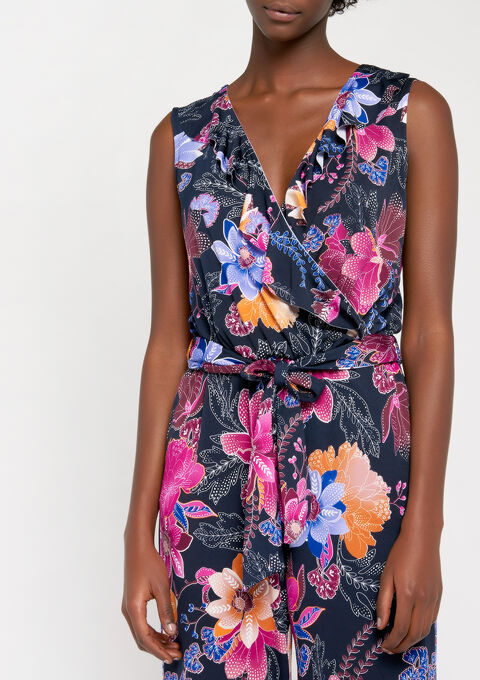Jumpsuit met bloemenprint & ruches - BLACK IRIS - 06003863_1667