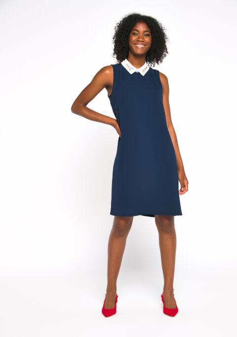 Mini jurk kraag met juwelen - PEACOAT BLUE - 08101191_1655