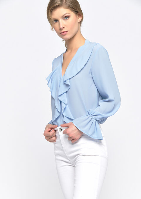Blouse met ruches - BLUEBERRY - 05701395_1536