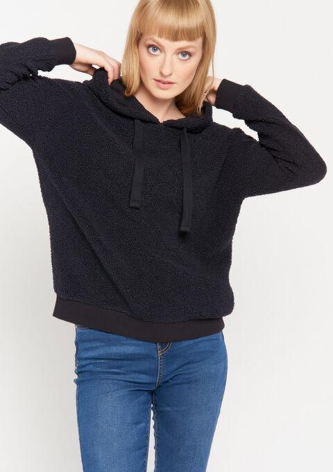 Teddy sweatshirt with hood - NAVY SHADOW - 03001389_2713