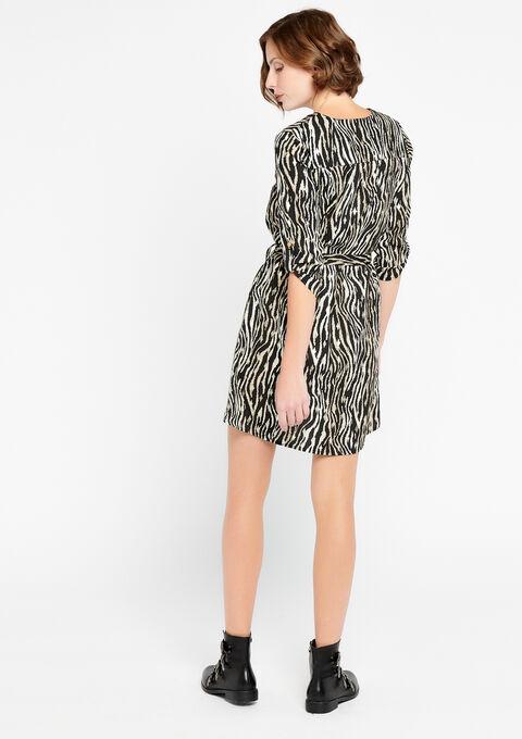 Korte zebra jurk met v-hals - BLACK - 08100583_1119
