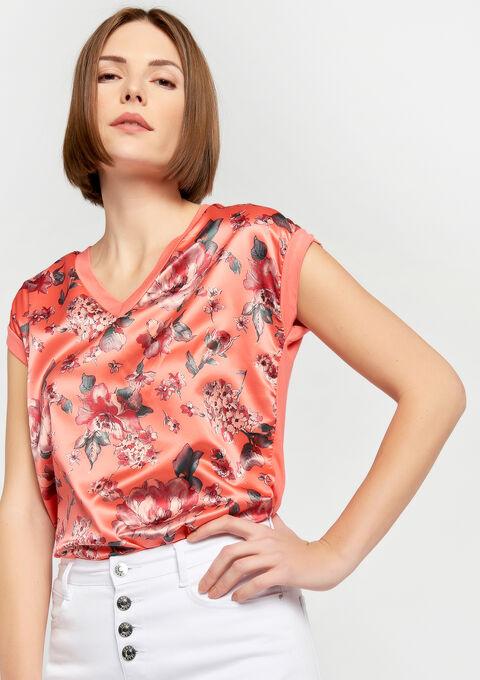 T-shirt , imprimé fleurs, bi-matière - PEACH BUD - 02300244_1963