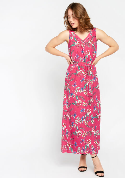 Lange jurk met print - AKEBIA FUSHIA - 08600108_5613